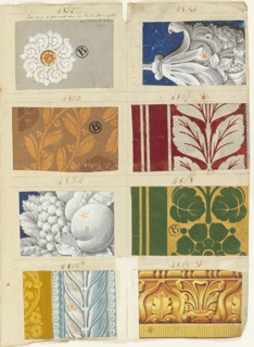 Volume contains 1,361 woodblock printed samples, 93 leaves. Designs include textile imitations, florals, geometrics, fancy gimps. Swatches detail the company's production from 1822-30.
