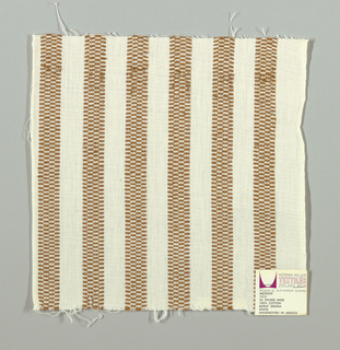 White plain weave with vertical light brown stripes. Light brown striped patterning is formed by narrow bands of supplementary warp floats. Number 1312.