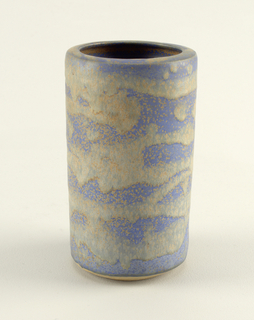 Tall vase with straight profile, turning in horizontally around opening. mat blue, speckled glaze, with roughly horizontal, irregular bands of greenish-gray flacked glaze. Signed on unglazed bottom with incised Chinese characters.