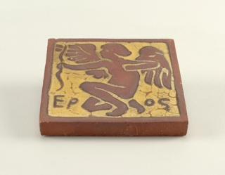 Press-molded low relief decoration in earth color against a yellow background. The second tile depicts a figure of a worker (perhaps a potter).