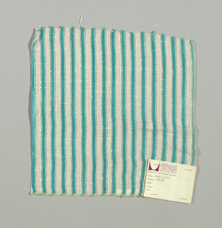 "White plain weave with 1/4"" inch vertical stripes in turquoise. Striped pattern is formed by discontinuous supplementary weft floats."