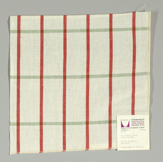 Plain-woven windowpane plaid of red and green stripes on a white ground.