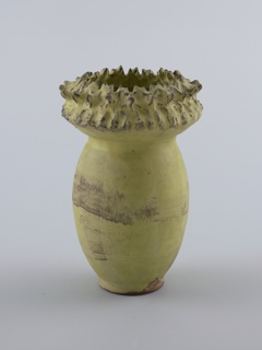 Tall, ovoid body, wide flaring neck with spines, knots and jagged edge.  Vanadium yellow glaze, with the clay shining through as brown mottle on body and neck.