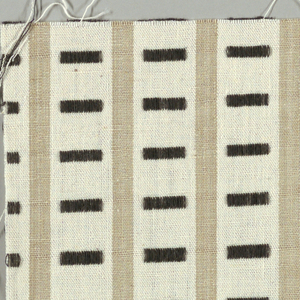 White and beige vertical stripes with black rectangles. Rectangular patterning is formed by supplementary warp floats.