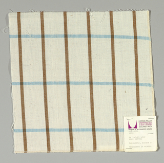 Plain-woven windowpane plaid of brown and turquoise stripes on a white ground.