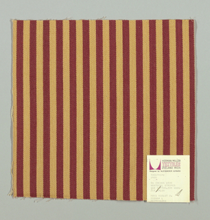 Warp-faced twill in vertical stripes of maroon and light brown. Plain weave binding foundation has light brown warp and weft threads.