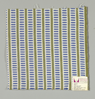 White and olive green vertical stripes with blue rectangles. Rectangular patterning is formed by supplementary warp floats.