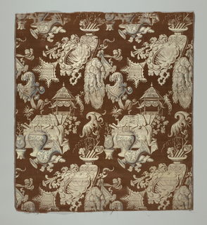 Reddish-brown satin with a large-scale design of vaguely chinoiserie character. Horizontal row of motifs formed by: groups of vases, trunks filled with scrolls and fabric swags, rocaille forms with dragons, Chinese pavilions, mirrors, and shield-forms with rooster heads.