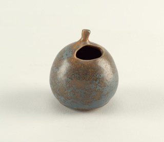"Spherical vase with small stem on top and oval opening off center.  Mottled bluish green and light brown glaze over sand-colored body.  Signed with Chinese character and ""Chow"" (incised)."