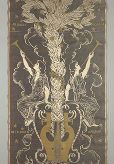 "Vertical panel of gray weft twill with a design in yellow twill and beige satin. Design consists of a central lyre resting on clouds with a column of laurel leaves and ivy rising from it. Maiden trumpeter in classic robes seated at either side of the lyre. Names ""J.S. Bach"" and ""Mozart"" on upper left and right. ""Beethoven"" and ""Wagner"" on lower left and right."