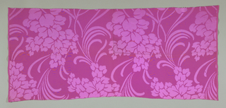 Length of purple damask in an allover large-scale floral design with long curving lance-like foliage.