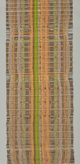 Sample of a woven window blind with warp stripes and rigid wefts. The warps are of grey, orange, and green synthetic yarns and gold-colored Lurex strips; the wefts are 1/2 inch diameter, half-round wooden dowels alternating with 1/8 inch diameter reeds in various sequences.