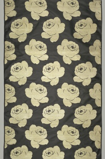 Black taffeta with large-scale highly conventionalized gold roses in a staggered horizontal repeat.