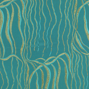 Blue-green crepe ground with design of waving yellow tendrils that resemble seaweed.