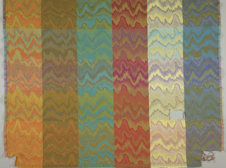 Sample blanket, woven in one piece, but squared off into many different color combinations by the use of various colored wefts; pattern a derivation of flame stitch.