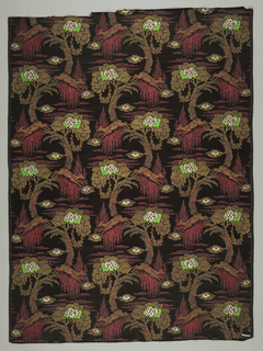 Textile sample with a satin ground, and a design arranged in staggered horizontal repeat, of a tree with a spray, hanging garland of round roses, and deer leaping between the trees. Design partly in main silk weft, partly in secondary gold weft, and partly brocaded with silver and multicolored silks.