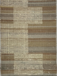 Rectangular hanging showing stripes in browns and grays, with supplementary off-white pattern of stacked rectangles.
