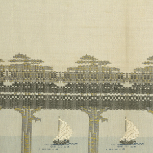 Pair of cream colored curtains with a 22 1/2 inch woven border at one end of each. Design is of sailboats in the distance seen through gaps between tree-trunks. Greys, soft blues and chartreuse. 5 3/4 inch hem at top; 2 inch hem at bottom.
