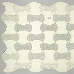 Wavy-edged scarf made from pieced curvilinear patches of satin weave and creped plain weave in shades of off-white. Reversible with each satin patch lined on back with plain weave crepe, and vice versa.