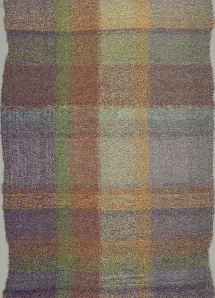 Panel of casement fabric in stripes of black and shades of brown, purple, dark red, blue and green.