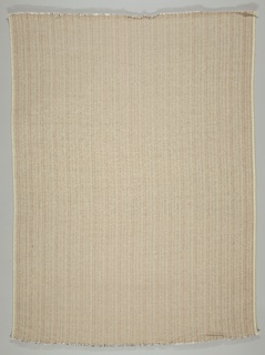 Length of woven textile with a subtle, shimmering vertical stripe of pearl and copper-colored metallic threads; the weft is beige chenille yarn.