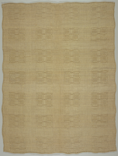 Tablecloth with a repeat of large squares formed by grouped warps.
