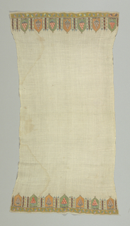 Cotton towel with ends embroidered in silks and metal thread. Design appears to be house with groups of towers at side. Worked entirely in drawnwork, embroidered over in colors; parts outlined in flat metal and metal thread.