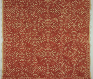 Three panels of heavy unbleached linen tabby sewn together and embroidered in red silk in typical Naxian large-scale pattern of 4-pointed stars filled in with long diamond or leaf shapes in form of cross, with small geometric ornament reserved in the solid embroidery.