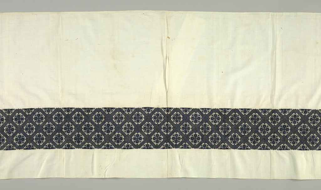 Panel embroidered with a band of hexagonal motifs set in ground of crossing diagonal lines made up of small four-lobed figures. Ends of panel are buttonholed.
