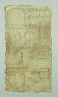 The technique intended to be white-on-white embroidery and cut fabric work. Linear patterns suitable for collars, cuffs, handkerchiefs etc. Numbered 1 through 12.