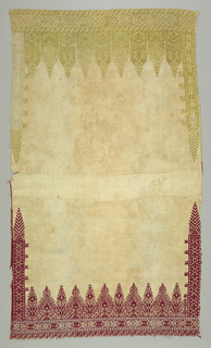 Panel of coarse cotton embroidered at one end in red silk with sections in violet. The other end shows embroidery in yellow-green and pale blue. Highly conventionalized border designs and stylized trees.