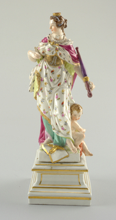 """Europe"" standing female figure, wearing erine and crown, holding goose pen and sceptre; attended by putto, leaning on globe; attributes: book and sword; square pedestal."
