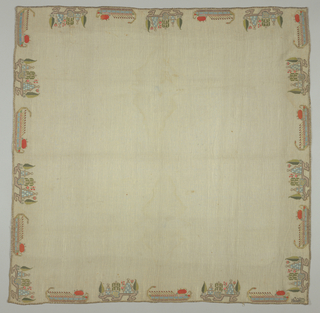Square of sheer cream-colored cotton, embroidered on all four sides with colored silks and metal thread. Design of detached motifs: an island with trees; and a galley with oars raised in a single line.