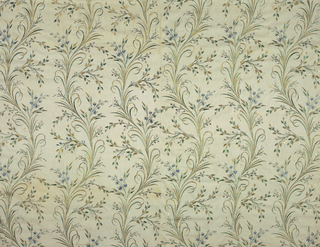 Panel pieced from several fragments of embroidery. Design of curving stems, narrow straight leaves and small flowers. Bound with brown silk twill.