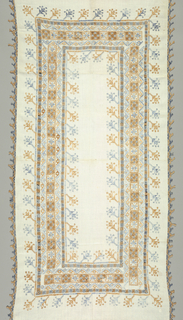 Rectangular linen cover dominated by a complex border of four panels combining drawn work and embroidery. The inner section is made up of alternating squares of embroidery and drawn work with geometric floral vine guard stripes. The border is completed on the inside and outside by continuous narrow bands of drawn work in alternating light blue and orange, from which stems elaborate leaf or flower-like forms, alternating in blue and orange. The outer edge is trimmed with a randa of continuous bobbin braided trim in orange and blue.