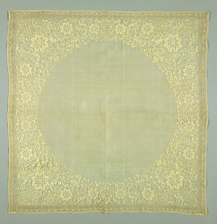 Fine sheer piña cloth squares with plain circular central field. Border of corners filled with symmetrical scrolling flowers, stems, leaves, in Chinese style, formed by white shadow embroidery. On outer borders, narrow inset of drawn work and embroidered edge of plain piña cloth.