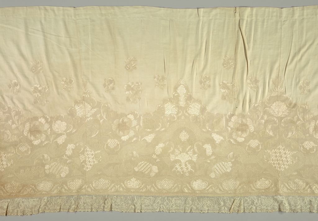 White on white. Large panel of twill-weave cotton, embroidered in white silk thread along border, edged by bobbin lace, showing drawnwork and knot stitches. Pattern shows flowers and scrolls.