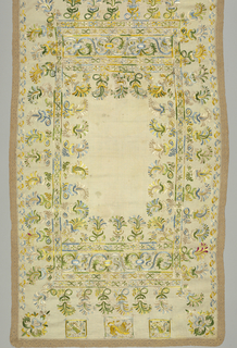 Cream-colored linen table cover, with wide border designs worked in polychrome silks of pale green, yellow, pale rose, light blue, dark blue and dark green. Edged with border of dark green needle lace. Design made up of detached motifs of a leaf or feather pattern, much used in Spanish embroidery; at ends on inner border of curving vines enclosing birds holding flower in beak, and crowned lion. Stitches, largely satin stitch; bodies of animals outline in contrasting colors in chain stitch. Soft floss silk used.