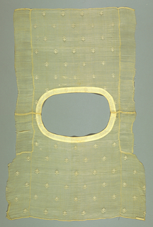 Bodice (c) of sheer fine piña cloth with tiny white cotton floral sprig embroidered at widely spaced intervals. Shallow oval neckline faced with cotton cloth. Sides not seamed. Separate sleeves (a,b) with some sprig repeat in field, deep border of embroidered drawn work with delicate symmetrical floral and arabesque tracery.