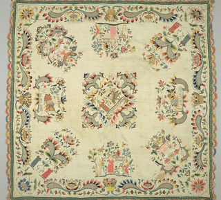 """Table cover with center scene depicting """"Venus i Cupido"""" in elaborate frame. Surrounding center is eight scenes, two marked """"La Hermosa Diana,"""" and at each corner, one showing North American Indians (?); border of flowers, scrolls and cactus. Edged with bobbin lace in color."""