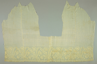 Embroidered border on irregularly shaped piece, possible cut for a garment, with a repeating design of stylized flower sprays and leafy fronds.