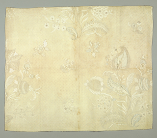 Fragment, possibly from a quilted petticoat. Elaborate floral sprays in white on white.