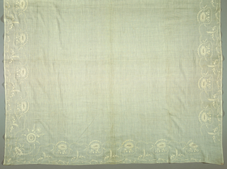 Square with an embroidered border on all four sides. But the embroidery is done with two borders righting on one side and two borders righting on the other so that the square could be folded and used as a fichu.