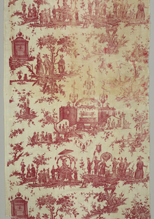 "Two panels of cotton, plain cloth, printed in red, copper plate. Chinoiserie design inspired by an opera by Gretry ""panurge dans l'Isle des Lanternes,"" design horizontally arranged shows performers on a stage, processions, etc., personages in fantastic dress."
