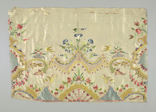 White taffeta embroidered in colored silks (satin and other stitches) with narrow white silk braid; design, scrolls, flowers and birds.
