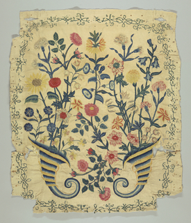 """Panel of cream linen warp and cotton weft, twill, (Width of goods about 19 1/2"""") embroidered in many-colored wools in long and short stitch: two upright cornucopias with inward-curling ends, out of which grow life-sized, naturalisticgarden flowers: carnations, morning-glories, jonquils, violets, pinks, roses and buds, campanula, ragged robin, a sunflower, etc. The whole enframed by thin green scrolling lines. From chair back."""