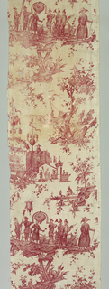 Panel of linen printed in red showing a chinoiserie design inspired by the Opera Panurge dans l'Isle des Lanternes: comédie lirique en trois actes written by André Ernest Modeste Grétry (1741-1813) and first performed in 1785. The design shows processions of personages in fantastic dress and performers on a stage.