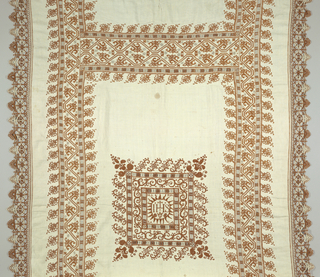 "Oblong panel of hand woven white linen embroidered in brown linen. Trimmed with wide borders of brown and white needle lace. Central square is surrounded by a series of border designs. The outermost border is made up of feather-shaped elements. Moving toward the center, there is a border of drawn and overcast work followed by a border of S-shaped scrolls, and another one of drawn work. In the center is a radiating disc framing a cross, IHS, and a heart. The name ""Marya Salas"" appears in the square wide borders of stylized leaf and vine pattern at the side. Ends are crossed by a wider border in a similar design."