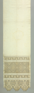 White linen towel with three openwork floral patterned borders at both ends. End panels are scalloped.