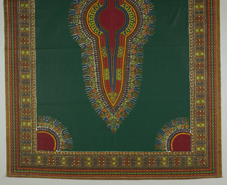 Carpet-like layout with an oblong center medallion in a solid field, with quarter-circles in each corner and multiple patterned borders. Printed in brown, blue, dark green, yellow, orange and red on a white ground.